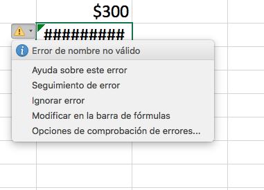Errores de fórmulas en Excel: error de nombre no válido