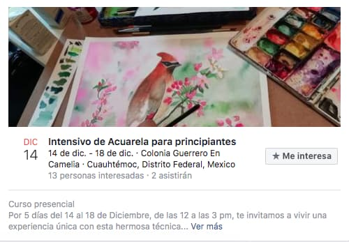Ejemplo de evento en Facebook