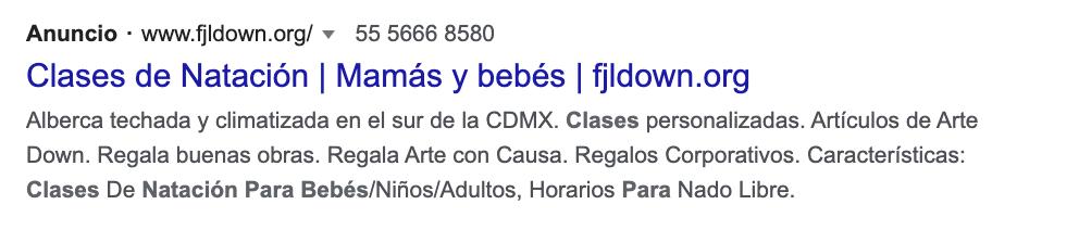 Google Ads: ejemplo de anuncio con extensión