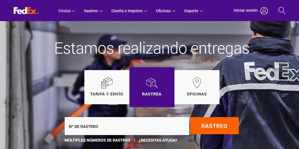 Página de inicio de FedEx, servicio de paquetería B2B