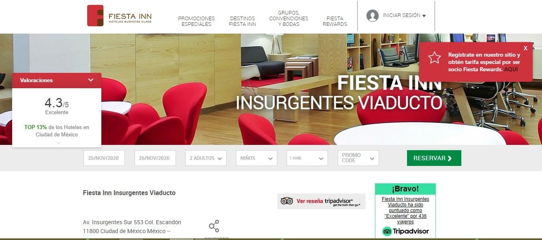 Insignia de reseñas en el sitio web de Fiesta Inn
