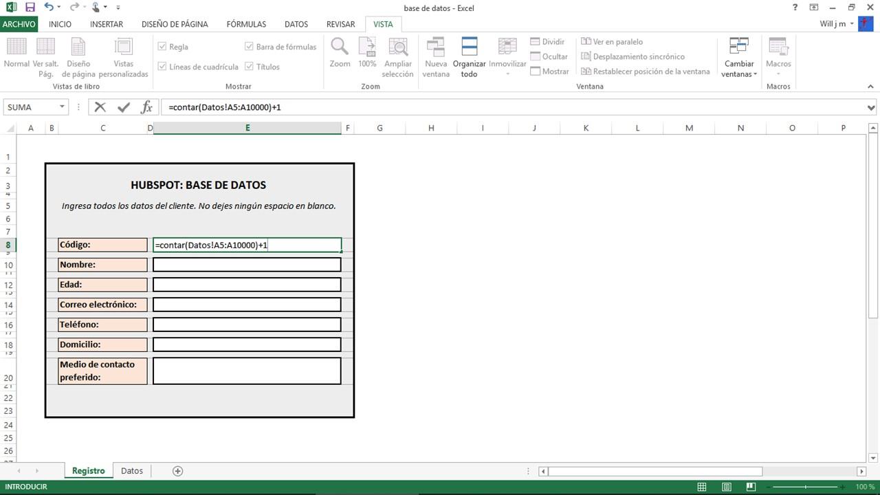 Cómo hacer una base de datos en Excel: fórmula