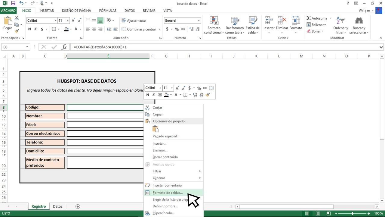 Dar formato de celdas en documento de Excel para base de datos