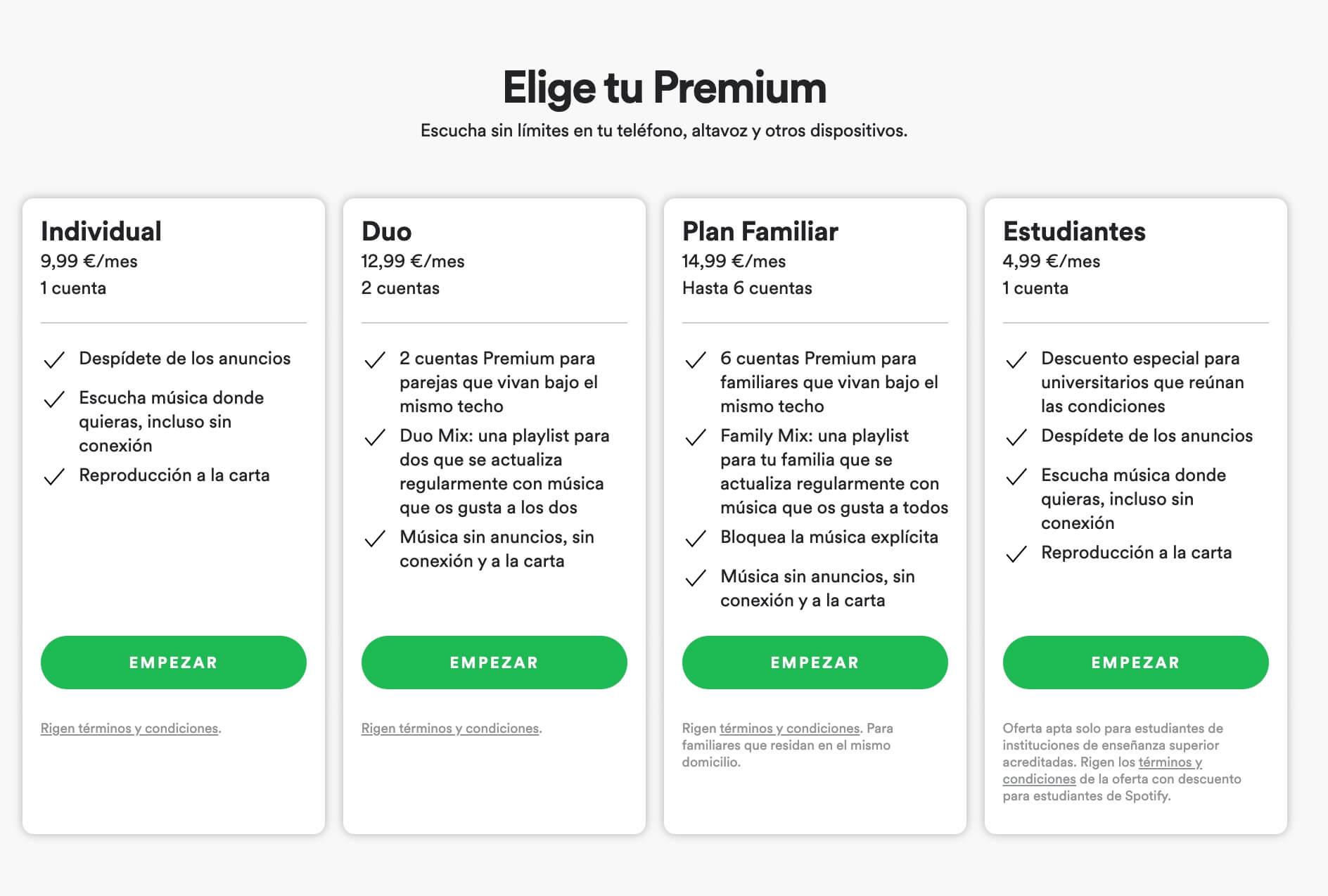 Ejemplo de modelo freemium B2C de Spotify