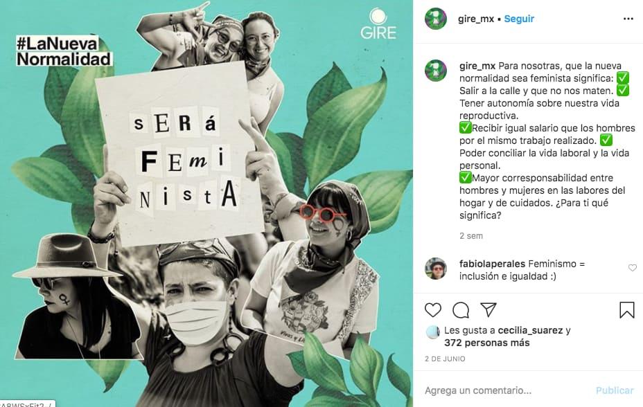 Marketing en Instagram: ejemplo de publicación de @gire_mx