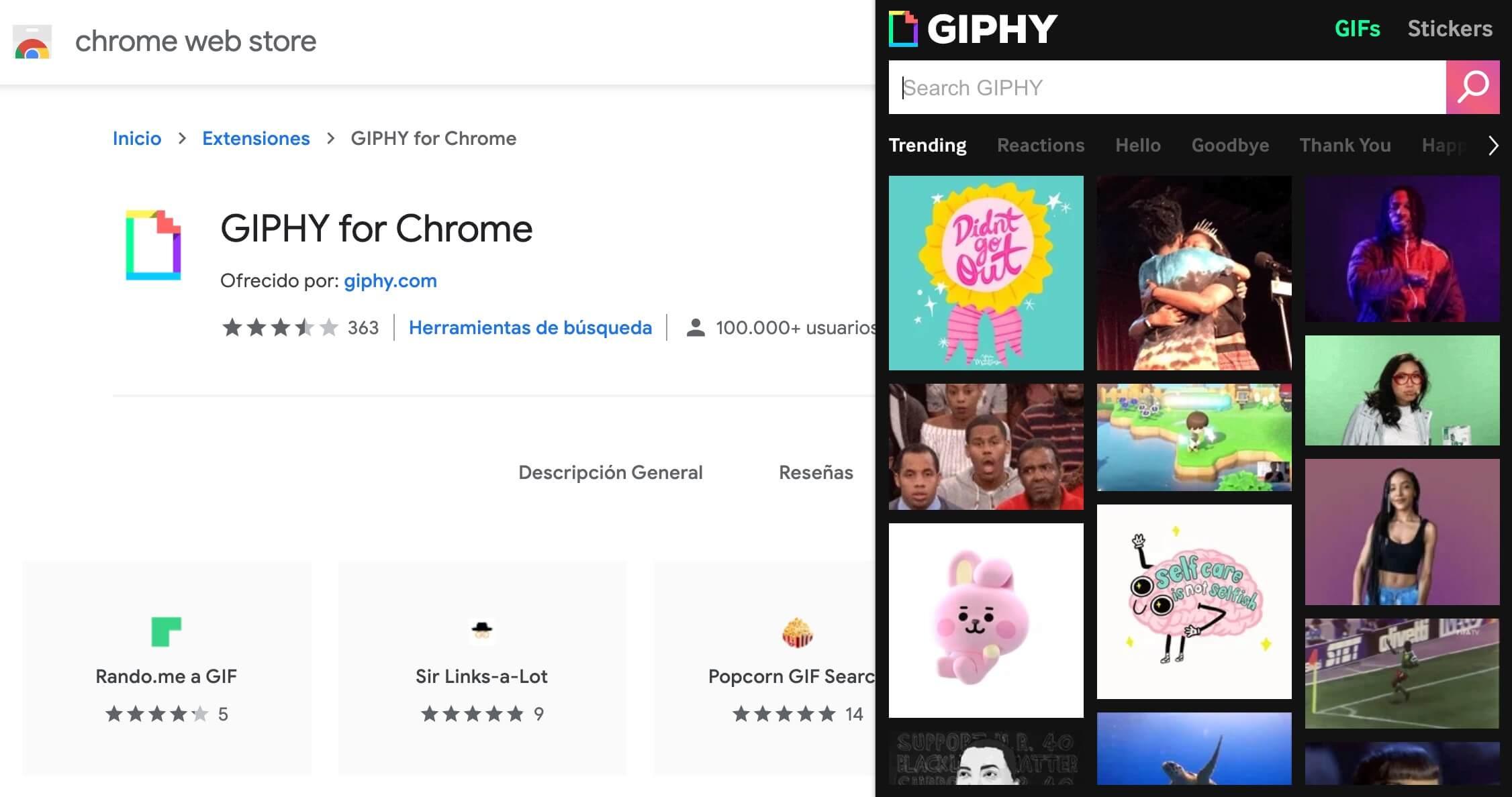 Extensión GIPHY for Chrome para gestionar contenidos