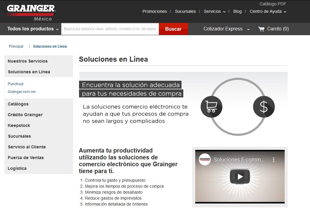 Soluciones en línea que ofrece Grainger, ejemplo de empresa B2B