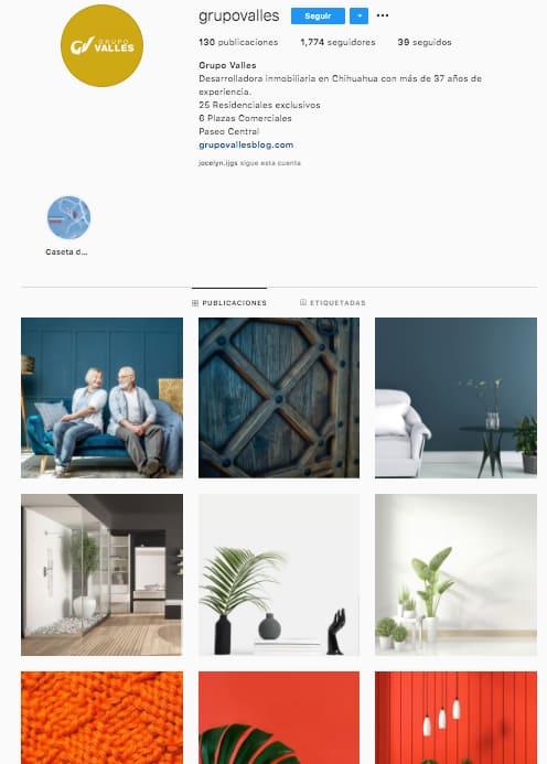 Marketing en Instagram: ejemplo de identidad de marca de @grupovalles