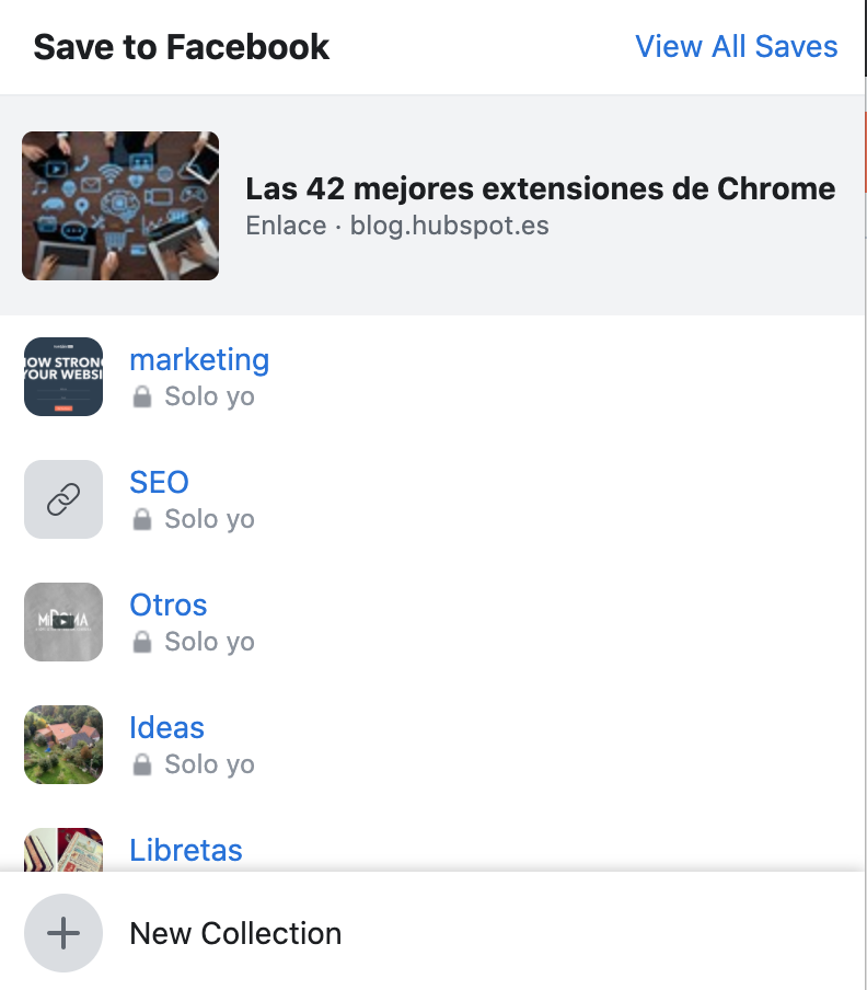 Extensión Save to Facebook para Google Chrome