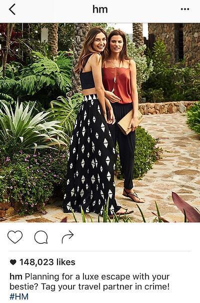 Ejemplo de pie de página en Instagram con llamada a la acción de HM: etiqueta a tu compañera
