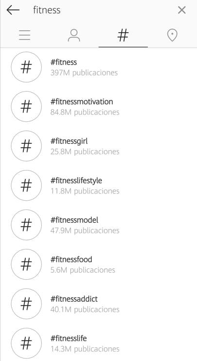Uso de hashtags para marcas en Instagram: #fitness