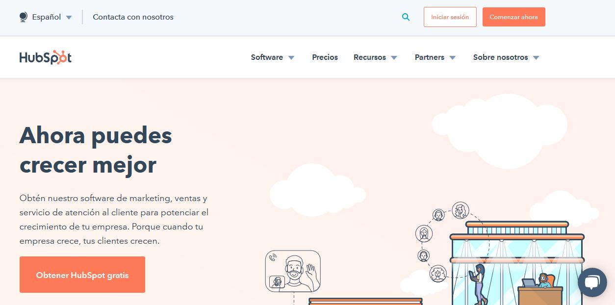 Página de inicio de HubSpot, ejemplo de empresa B2B