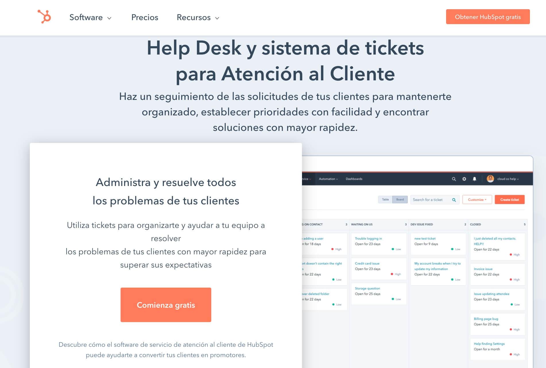 Software de mesa de ayuda gratis de HubSpot