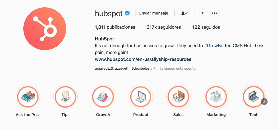 Ejemplo de destacados en el Instagram de HubSpot