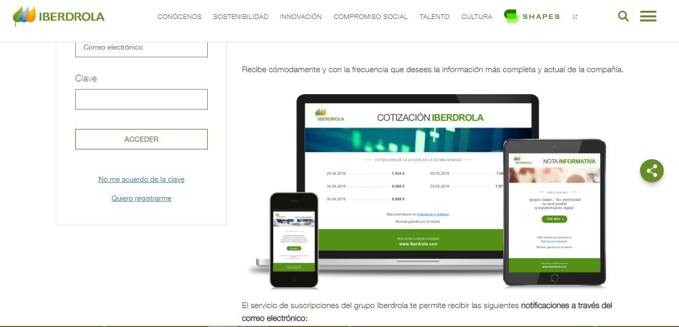 Iberdrola. ejemplo de smart content