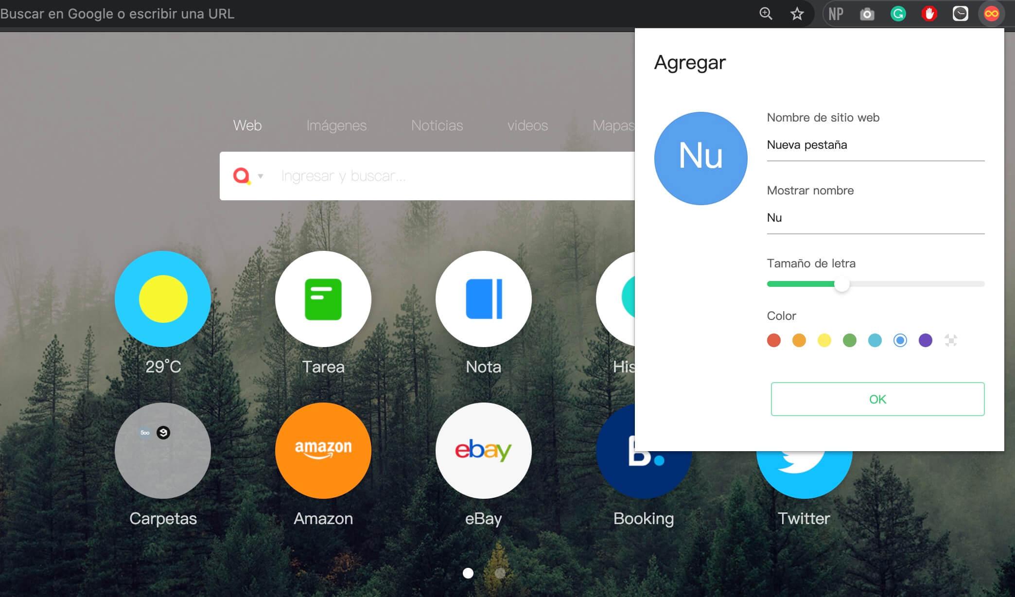Infinity New Tab (Pro), extensión para Google Chrome
