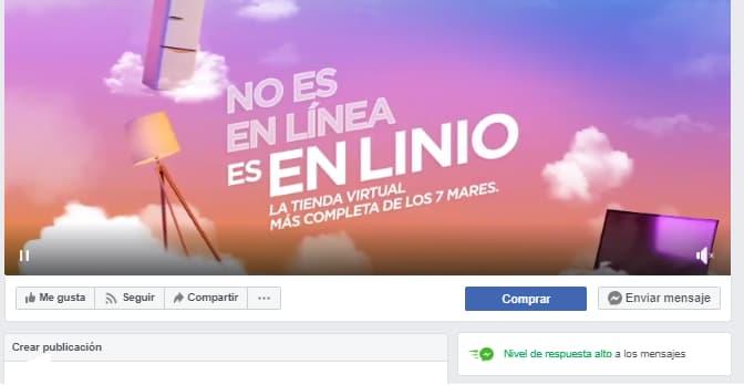 Insignia de «nivel de respuesta alto» en la página de Linio en Facebook