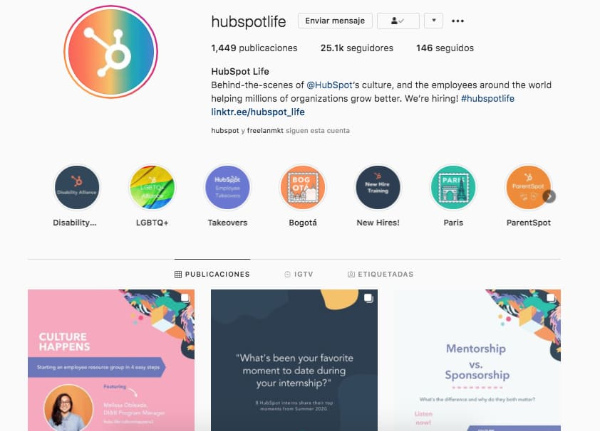 HubSpot Life en Instagram, cuenta dentro de la estrategia de redes sociales B2B