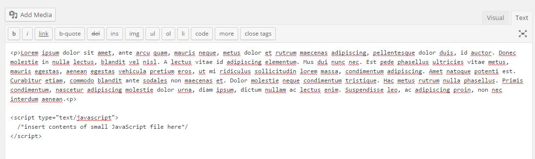 Script en el cuerpo HTML desde WordPress