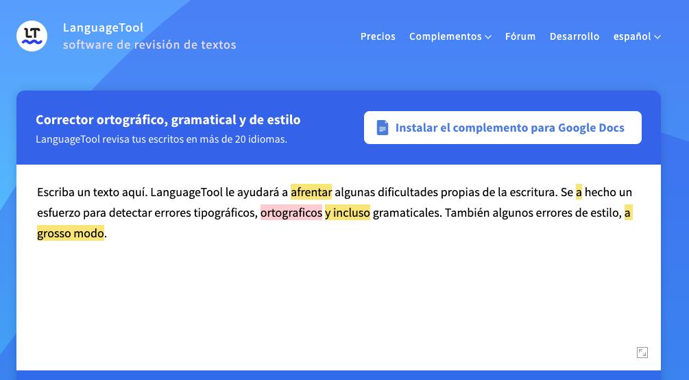 LanguageTool, herramienta de revisión y corrección de textos