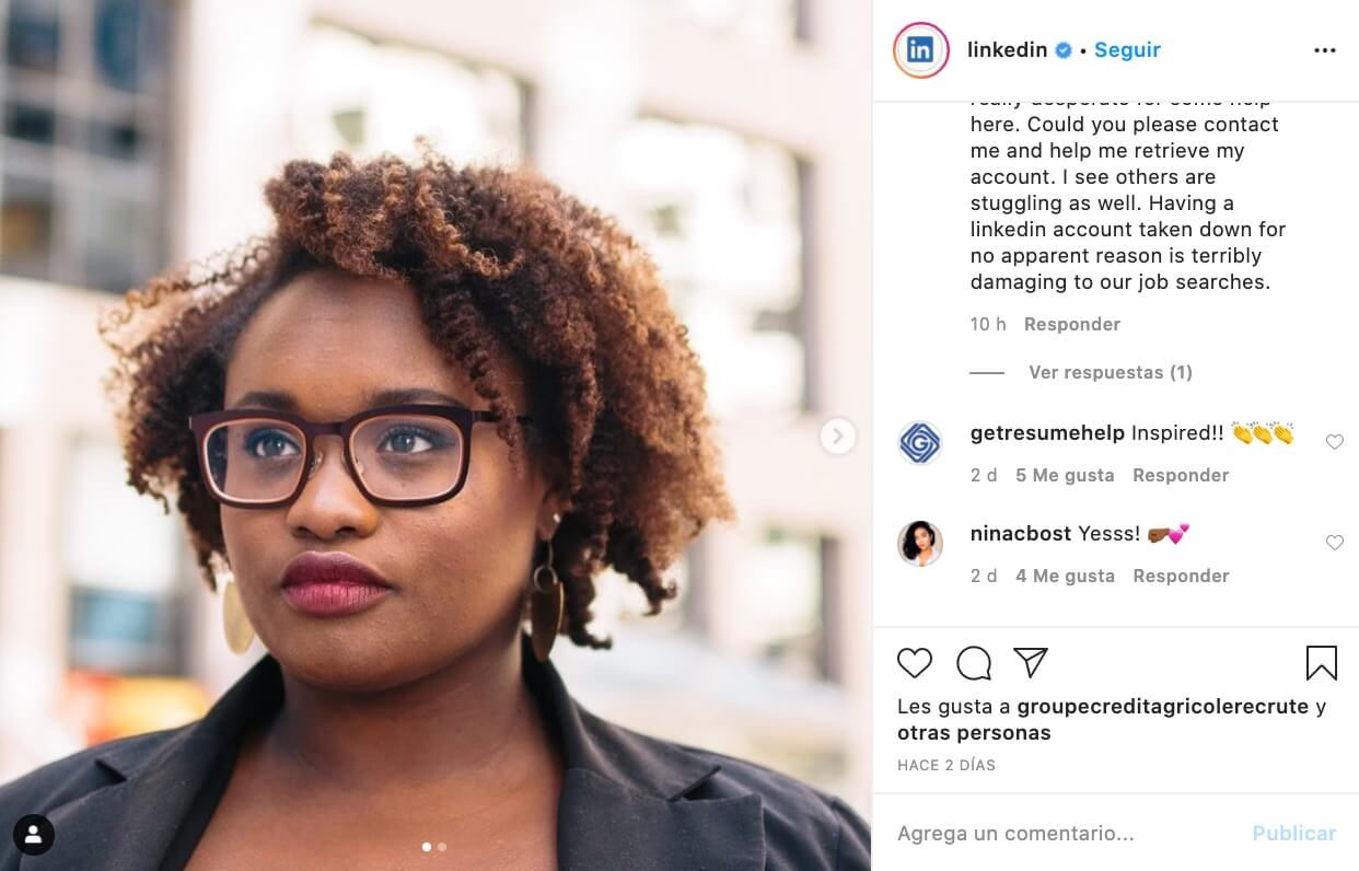 LinkedIn, ejemplo de empresa B2B en Instagram