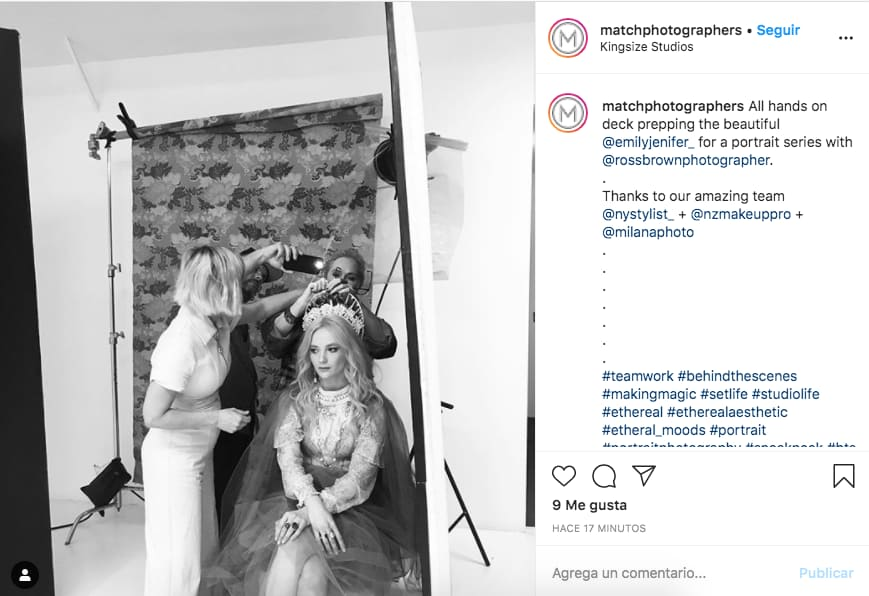 Ejemplo de publicaciones de marca en Instagram de @matchphotographers