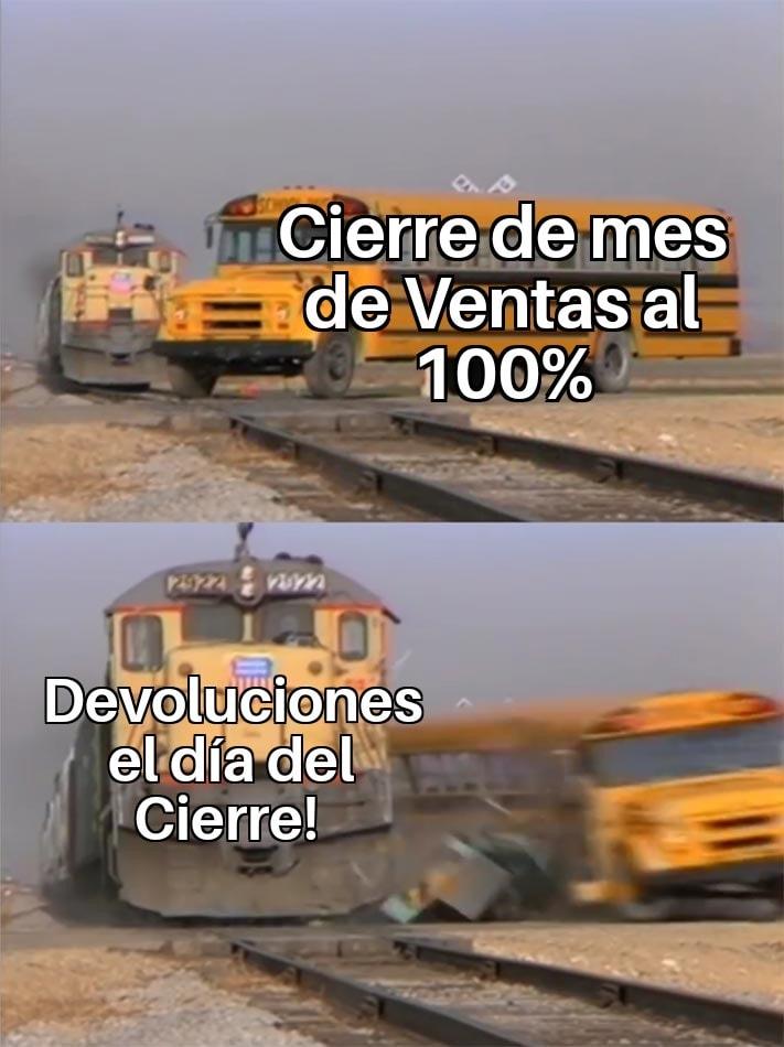 Meme de ventas sobre devoluciones