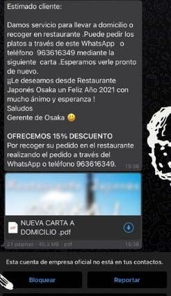 Ejemplo de mensaje de bienvenida de WhatsApp para pedidos y entregas a domicilio