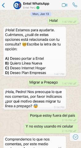 Ejemplo de mensaje de bienvenida de WhatsApp para consultas en directo