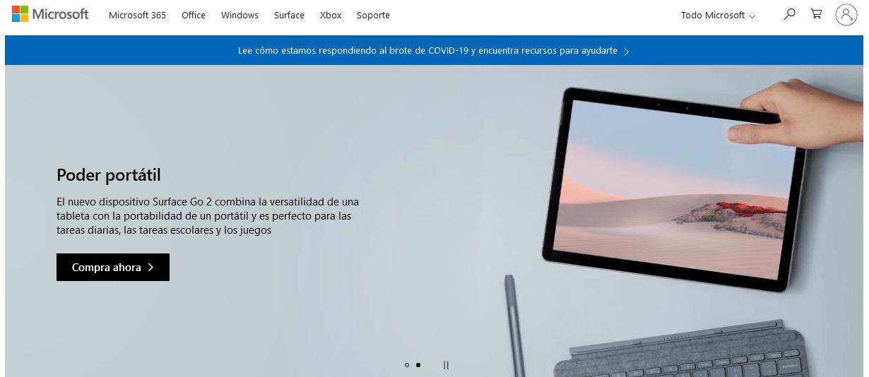 Página de inicio de Microsoft, empresa con enfoque B2B