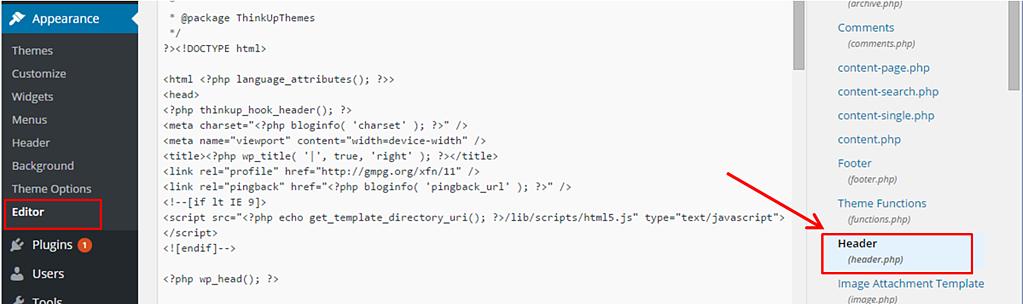 Cómo editar el JavaScript del encabezado en WordPress