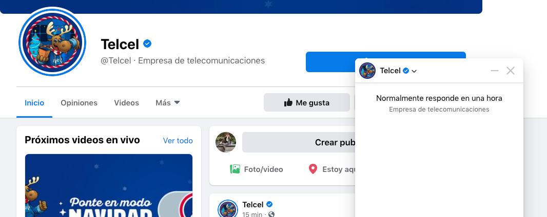 Índice de respuesta sin insignia en la página de Telcel en Facebook