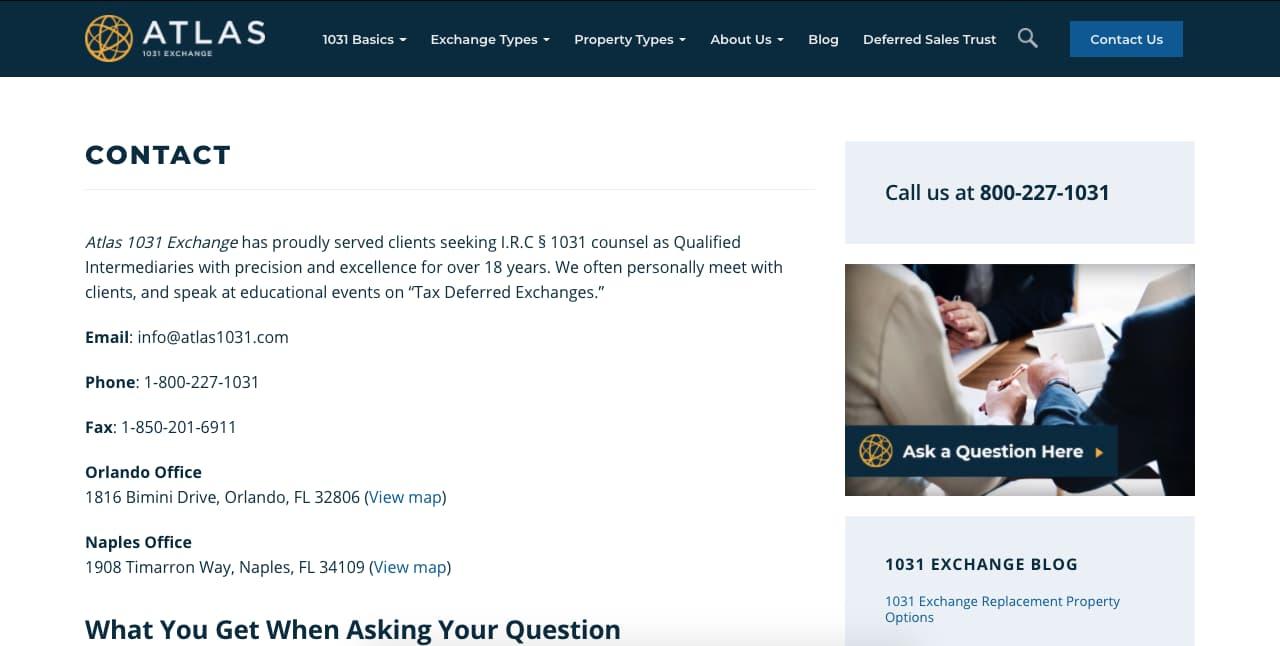 Ejemplo de página de contacto: Atlas 1031 Exchange