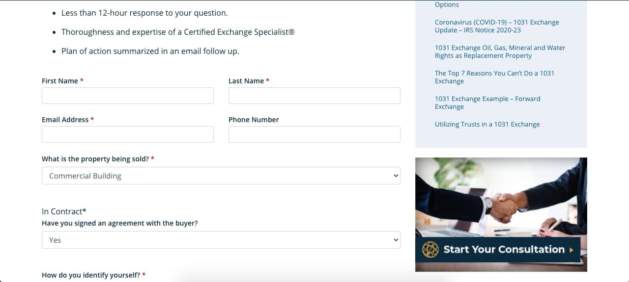 Ejemplo de páginas de contacto: formulario Atlas 1031 Exchange