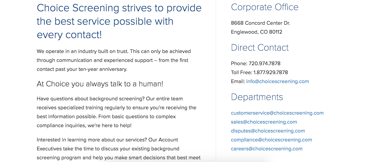 Ejemplo de página de contacto de Choice Screening