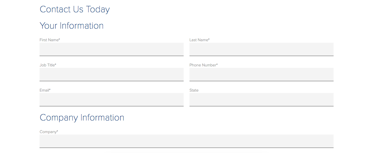Ejemplo de página de contacto extendida: formulario de Choice Screening
