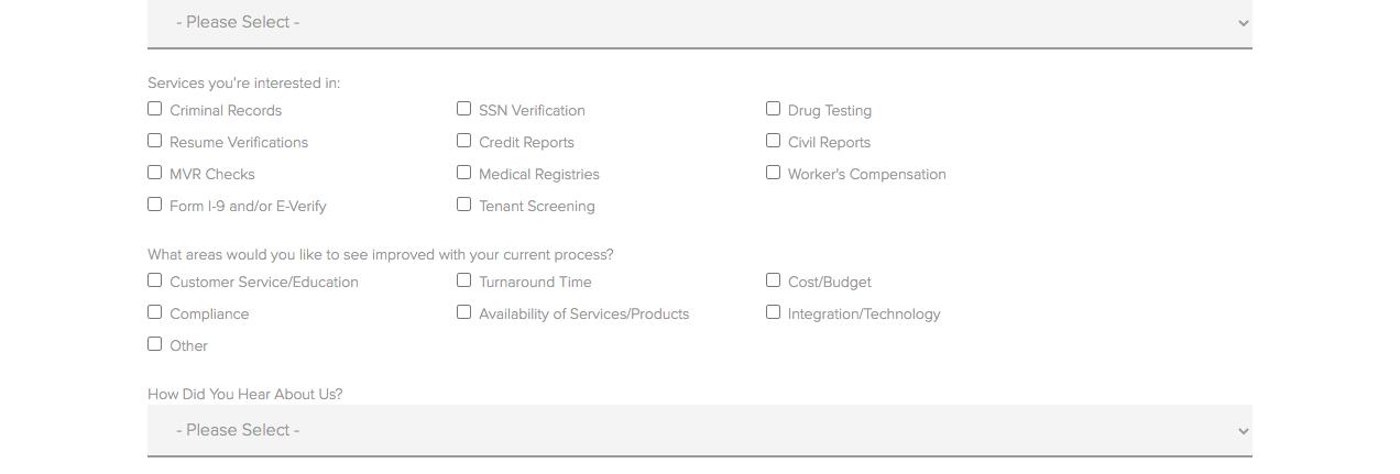 Ejemplo de páginas de contacto: Choice Screening, formulario