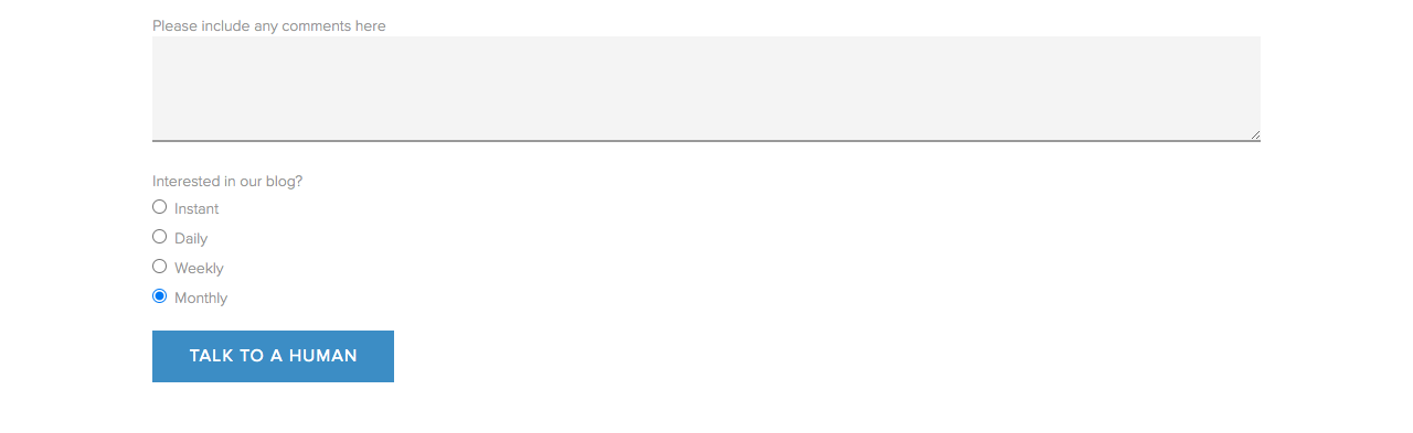 Formulario de página de contacto de Choice Screening
