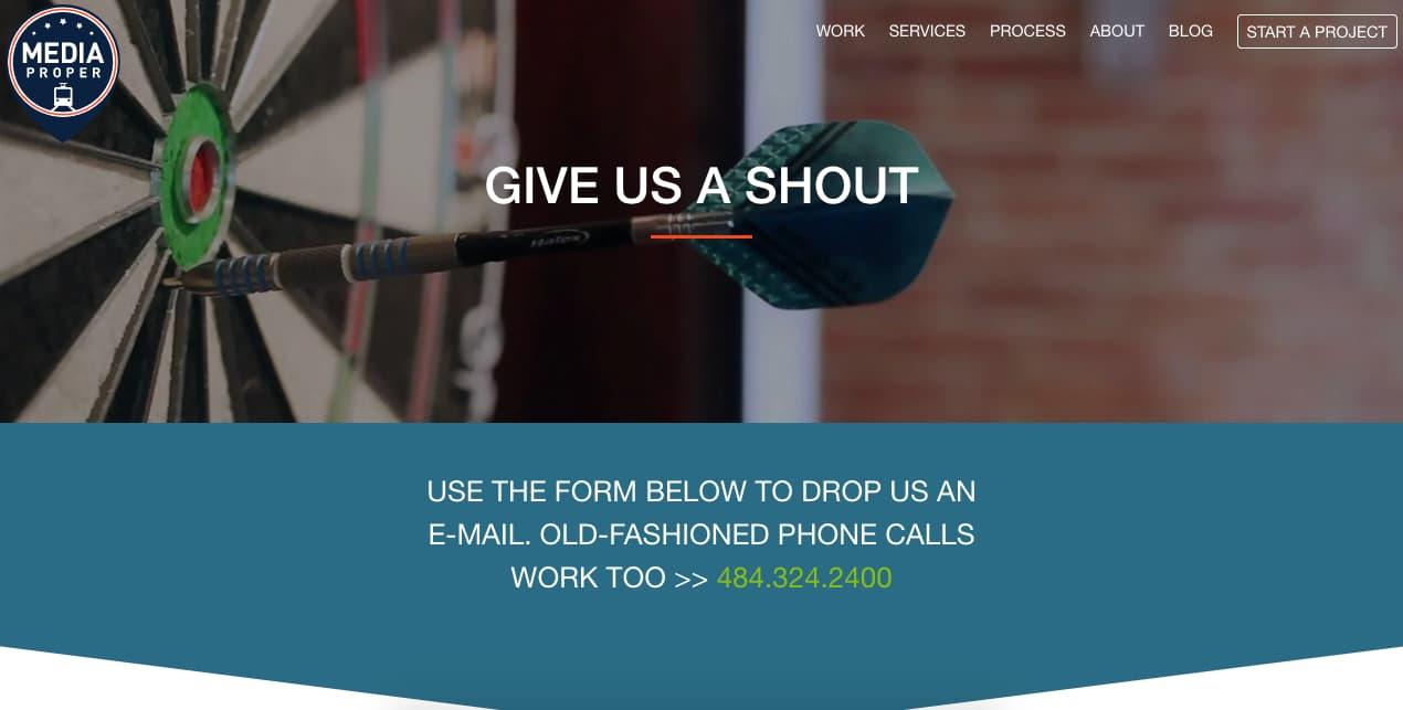 Ejemplo de página de contacto creativo: Morroni