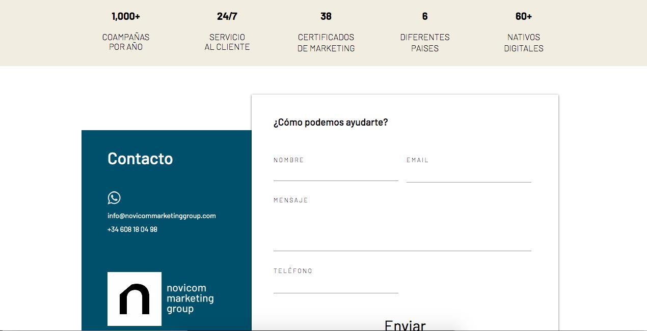 Ejemplo de páginas de contacto: Novicom, ofrece cifras sobre la empresa