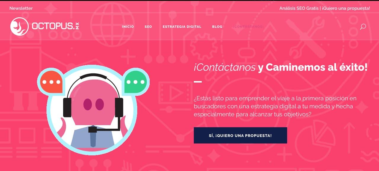 Ejemplo de página de contacto de agencia Octopus.mx