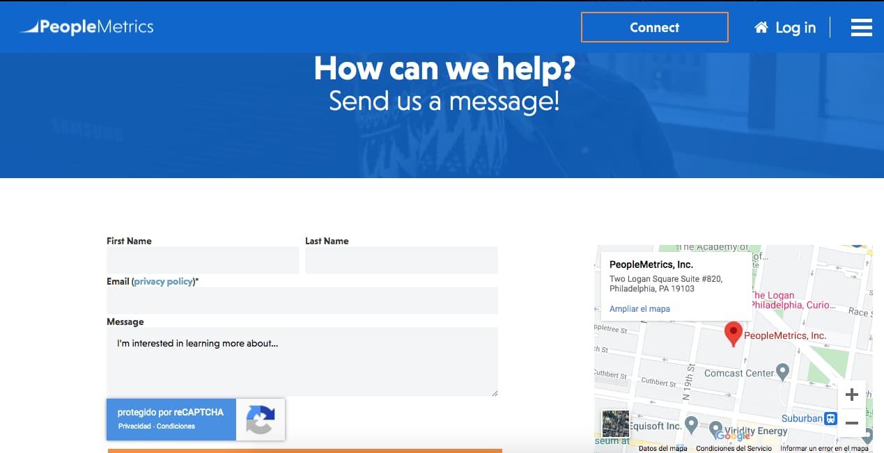 Ejemplo de página de contacto sencilla pero efectiva: PeopleMetrics