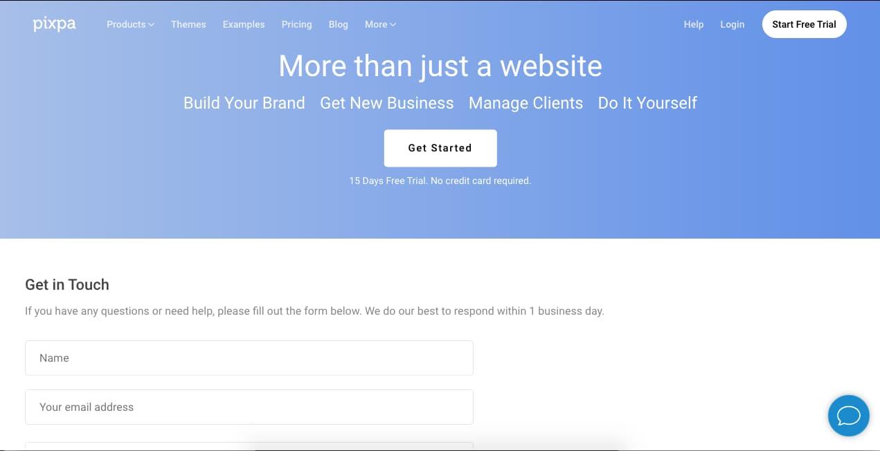 Ejemplo de página de contacto con llamada a la acción: Pixpa