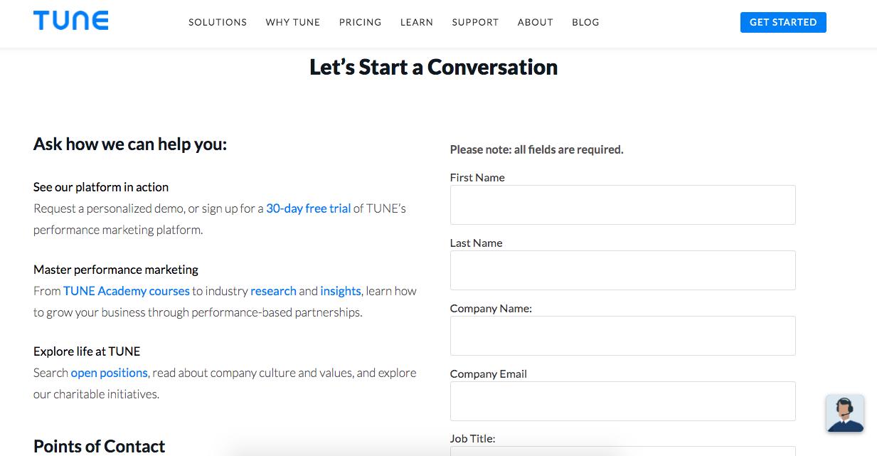 Tune, ejemplo de página de contacto amigable