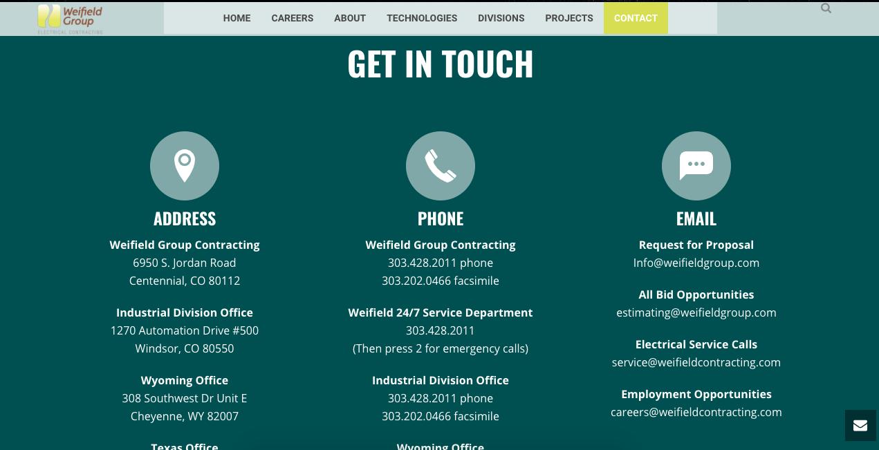 Ejemplo de página de contacto adaptable: Weifield Group Contracting