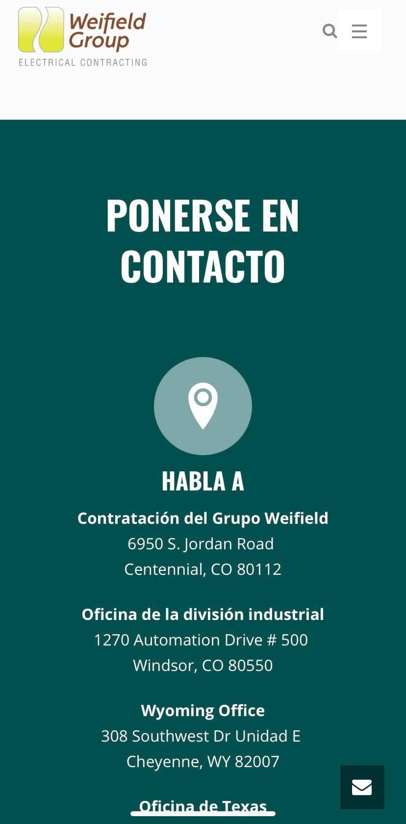 Ejemplo de páginas de contacto versión móvil: Weifield Group Contracting