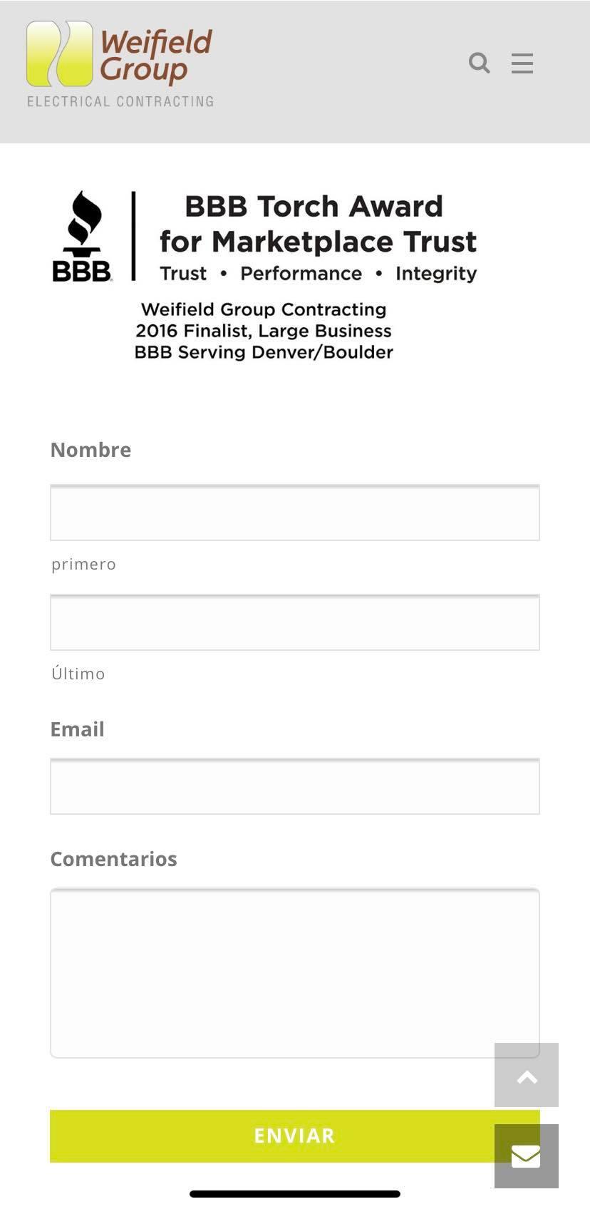 Ejemplo de página de contacto para celular