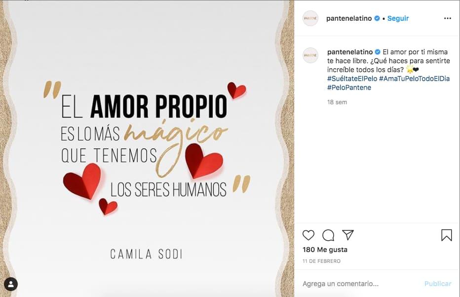 Marketing en Instagram: ejemplo de publicación de @pantenelatino