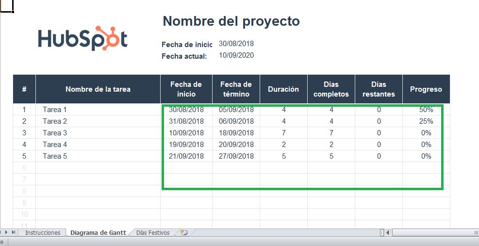 Integra las fechas de tu proyecto en un diagrama de Gantt