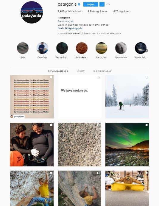 Marketing en Instagram: ejemplo del feed de @patagonia